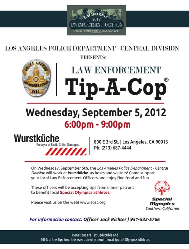 TIP A COP at Wurstkuche TONIGHT!! - September 5, 2012
