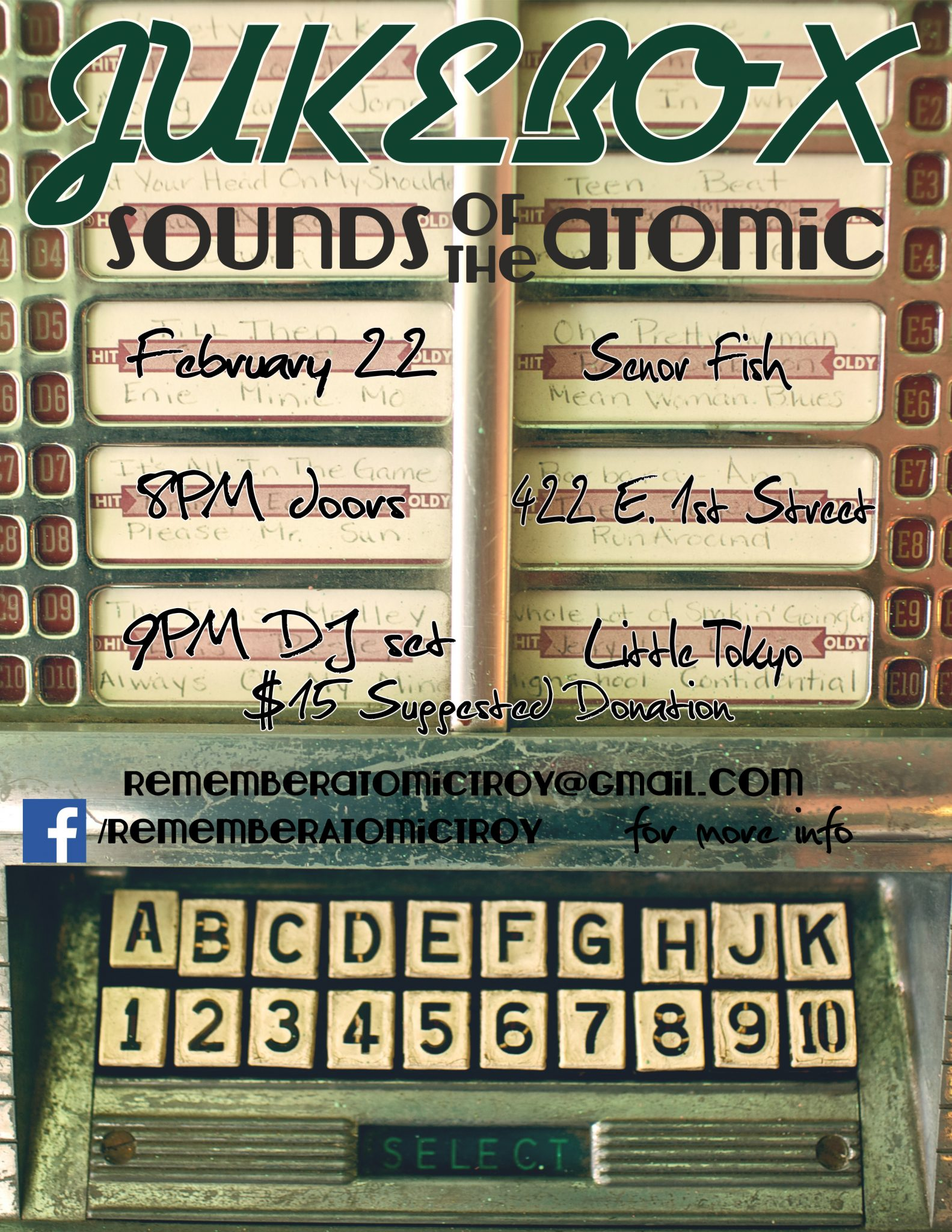 JUKEBOX: Sounds of the Atomic - February 22nd - January 31, 2014