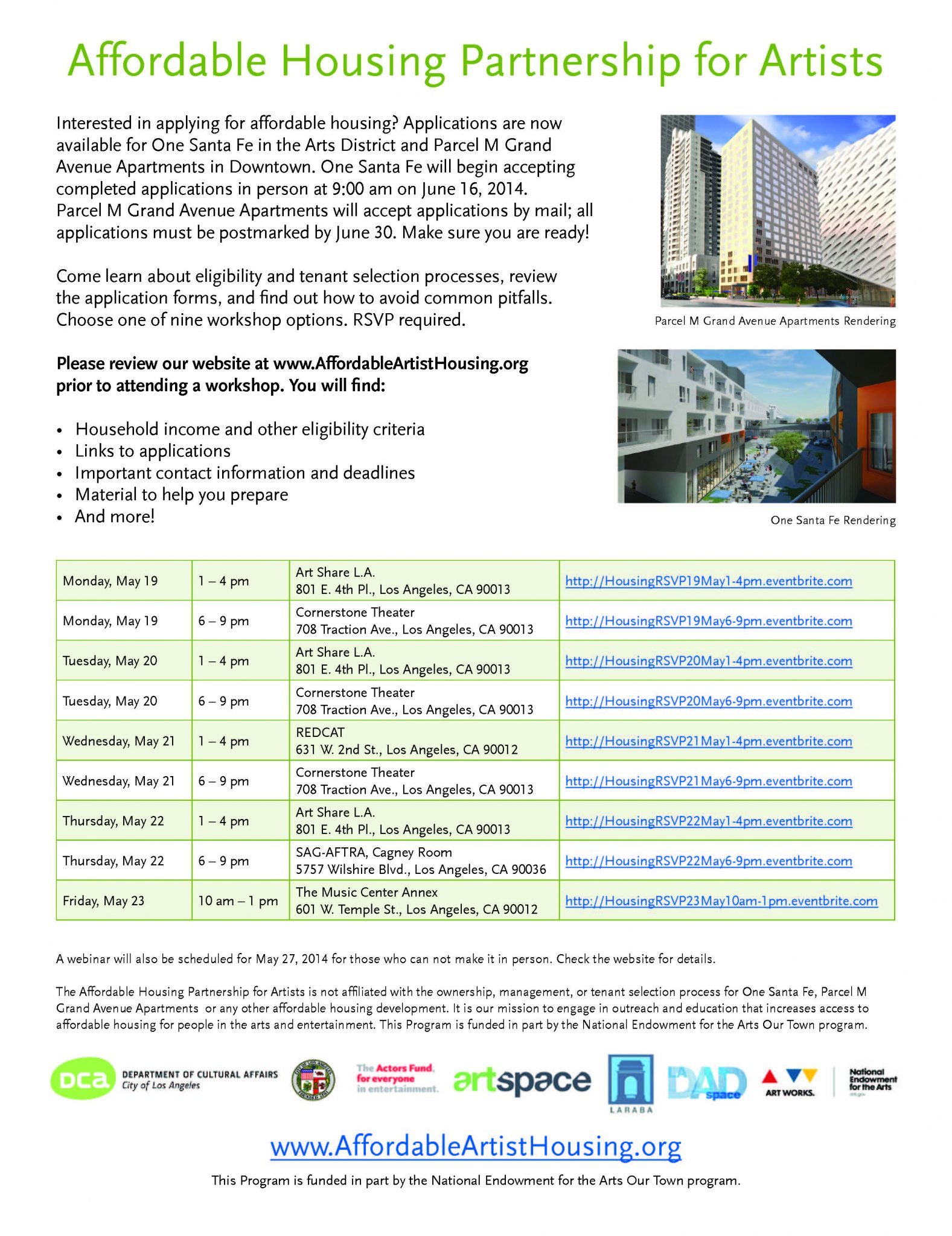 UPDATED: More Affordable Housing Workshops - May 16, 2014