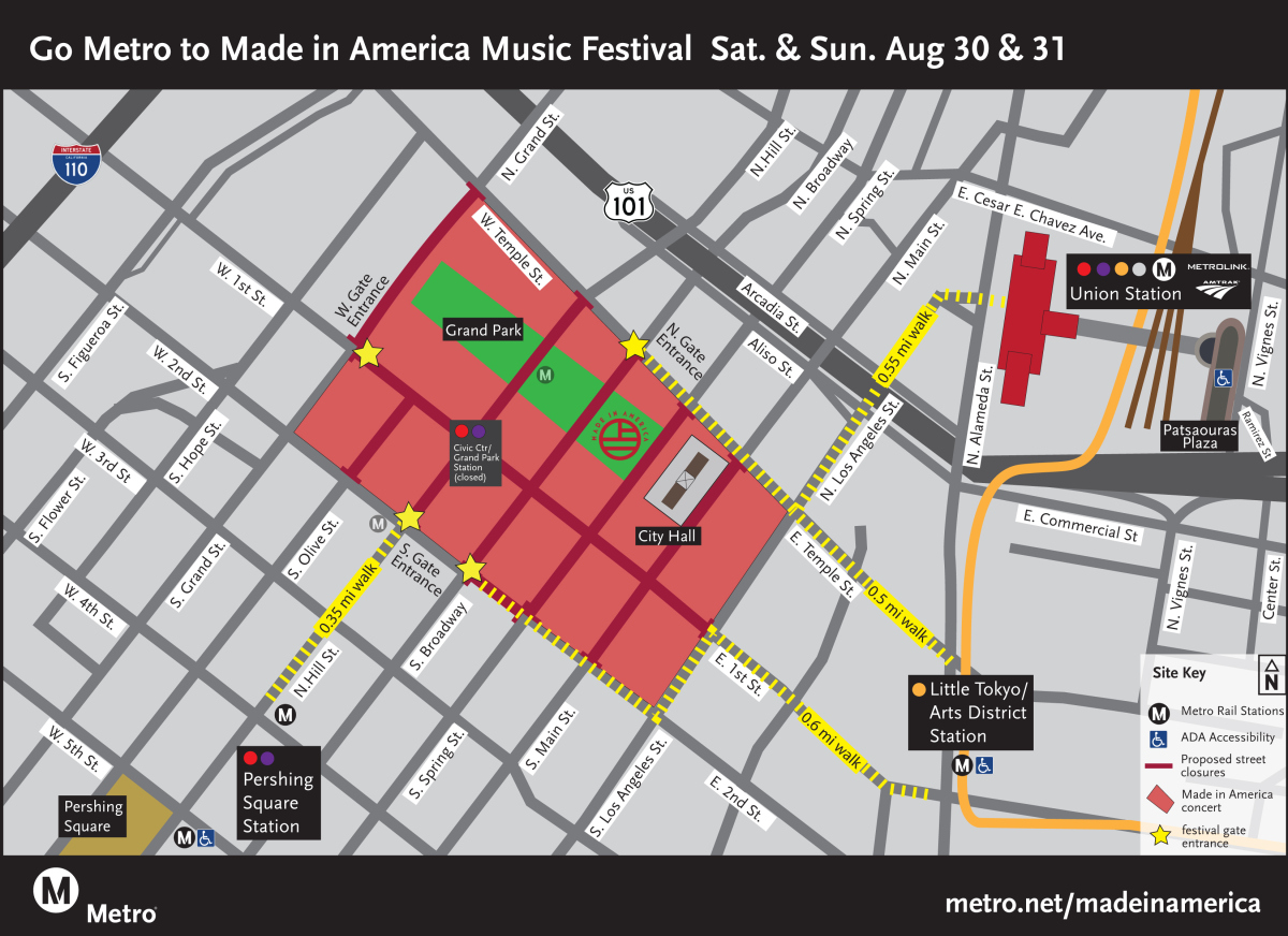 Map of street Closures for Labor Day's Grand Park Made in America - August 16, 2014