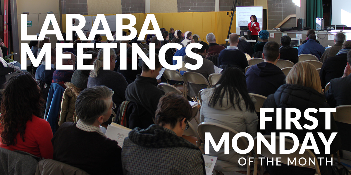 "Picture of people at community meeting - white text reads ""LARABA Meetings first Monday of the month"""