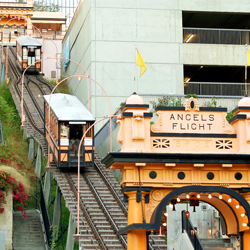 The Angel's Flight Funicular in Downtown Los Angeles