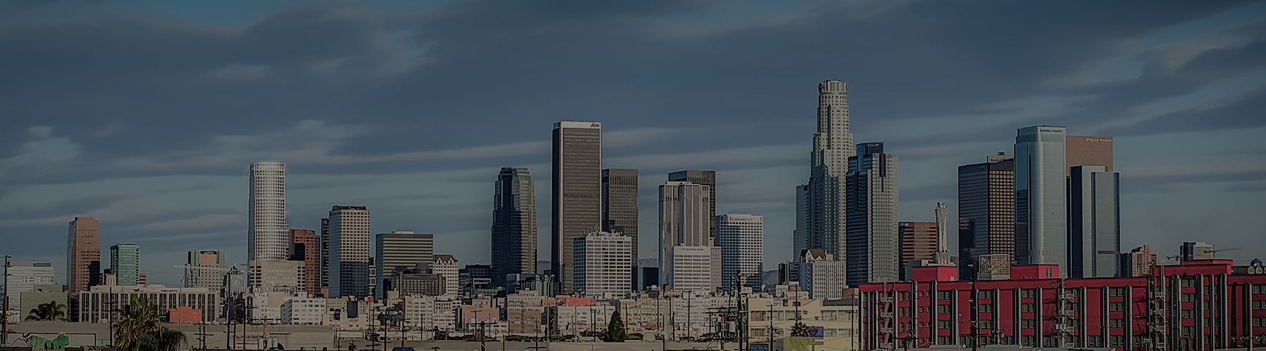 The Los Angeles downtown skyline as seen from the Arts District.