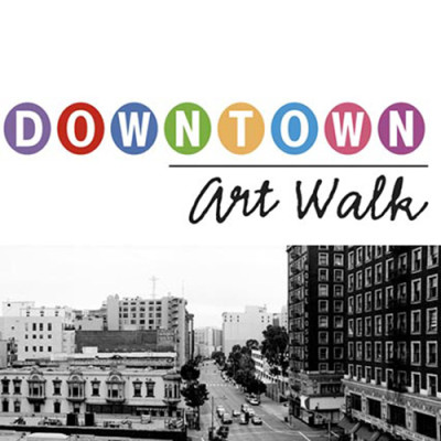 Logo for Downtown Art Walk showing a view of old Downtown Los Angeles