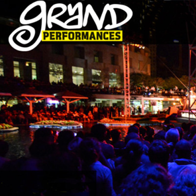 Logo for Grand Performances with a picture of people watching an outdoor summer concert.