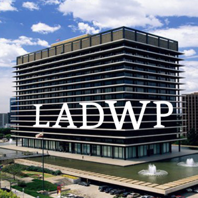 Picture of LADWP building with blue sky and clouds
