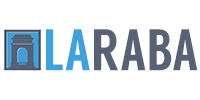 The logo for LARABA (Los Angeles River Artists & Business Association). The letters are gray on white except for the letters LA which are in light blue.