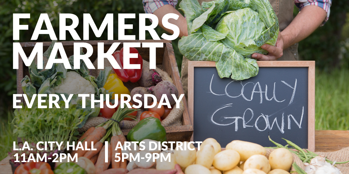 city hall farmers market - shows date of event. Every Thursday, City Hall South Lawn, 11 AM to 2 PM