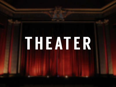 """Generic placeholder graphic that reads """"theater"""" and shows red theater curtains"""