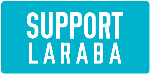 """Blue box with white text that reads """"SUPPORT LARABA"""" and links to donation portal"""